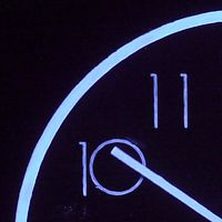 backwards running wall clock, fluorescent pigment, UV light